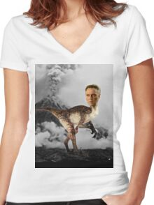 ChristopheRAPTOR Walken - Christopher Walken Velociraptor Women's Fitted V-Neck T-Shirt