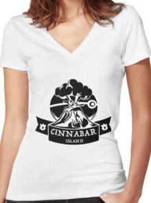 Cinnabar Island Pokemon Gym Anime Inspired Women's Fitted V-Neck T-Shirt