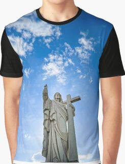 Majestic Jesus Christ sculpture over little french village, Maisonsgoutte, France Graphic T-Shirt