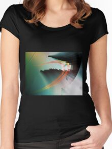 Multi-Color Abstract Symbol Women's Fitted Scoop T-Shirt