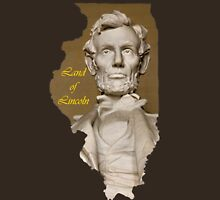 Illinois Map with State Nickname:  The Land of Lincoln Unisex T-Shirt