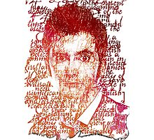 Tenth Doctor Letter Art Brown Rainbow Effect Photographic Print
