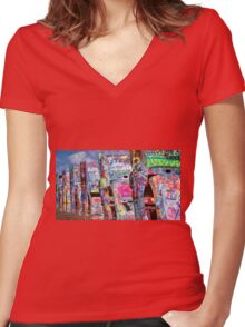 Cadillac Ranch Afternoon Painterly Women's Fitted V-Neck T-Shirt