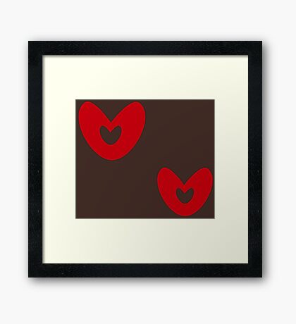Heart Brown and red Framed Print