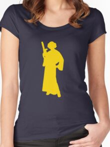 Star Wars Princess Leia Yellow Women's Fitted Scoop T-Shirt