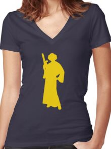 Star Wars Princess Leia Yellow Women's Fitted V-Neck T-Shirt