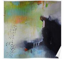 Black and green painting, abstract print  Poster