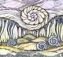 Snails.Hand draw  ink and pen, Watercolor, on textured paper by Sviatlana Kandybovich