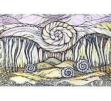 Snails.Hand draw  ink and pen, Watercolor, on textured paper Photographic Print