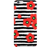 Grungy poppies and stripes iPhone Case/Skin