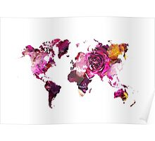 World Map roses Poster