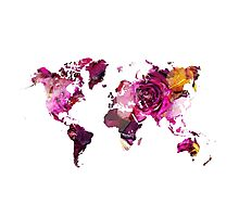 World Map roses Photographic Print