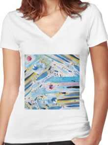 Watercolor hand paint abstract art Women's Fitted V-Neck T-Shirt