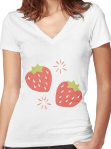 Strawberry pattern Women's Fitted V-Neck T-Shirt