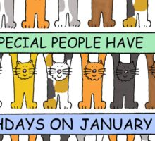 Cats celebrating birthdays on January 24th Sticker