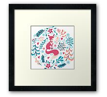 Fox with winter flowers and snowflakes Framed Print
