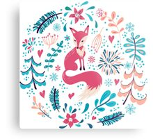 Fox with winter flowers and snowflakes Metal Print