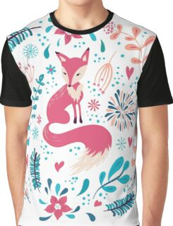 Fox with winter flowers and snowflakes Graphic T-Shirt