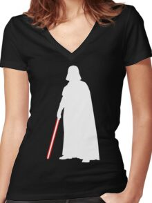 Star Wars Darth Vader White Women's Fitted V-Neck T-Shirt