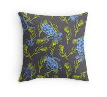 Dragonfly and Beetles ink doodle. Blue indigo insects with green branches. Throw Pillow