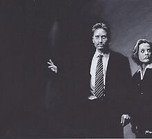 Original Charcoal Drawing of Dana Scully and Fox Mulder from X Files by brittnideweese