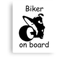 Biker on board 3 Canvas Print