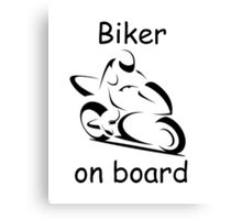 Biker on board 2 Canvas Print