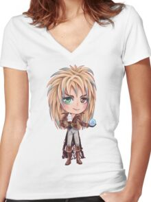 David Bowie - Chibi Labyrinth Goblin King Women's Fitted V-Neck T-Shirt