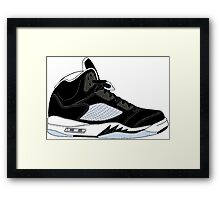 "Air Jordan V (5) ""Oreo"" Framed Print"