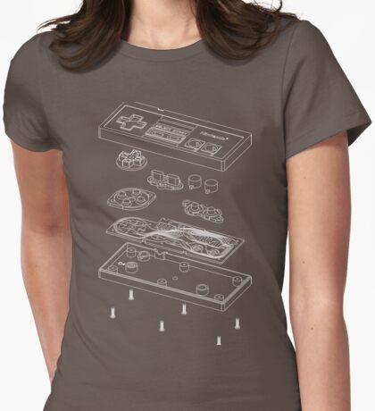 NES: Just the Guts (white) Womens Fitted T-Shirt