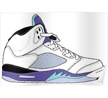 "Air Jordan V (5) ""White Grape"" Poster"
