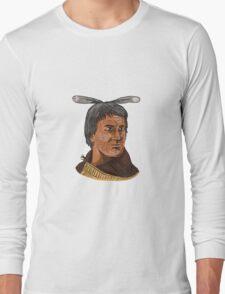Maori Chief Warrior Bust Watercolor Long Sleeve T-Shirt