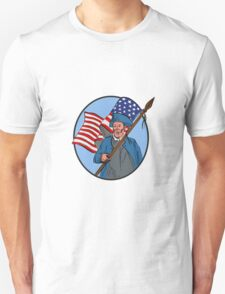 American Patriot Carrying USA Flag Circle Drawing T-Shirt