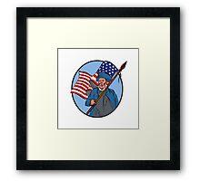 American Patriot Carrying USA Flag Circle Drawing Framed Print