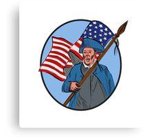 American Patriot Carrying USA Flag Circle Drawing Canvas Print
