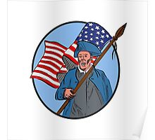 American Patriot Carrying USA Flag Circle Drawing Poster