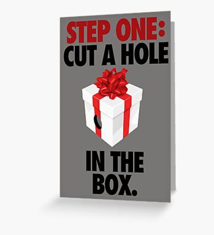 STEP ONE: CUT A HOLE IN THE BOX. - V3 Greeting Card