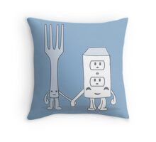 The Cutest Couple: Fork & Electrical Outlet Throw Pillow