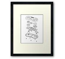 SNES: Just the Guts (black) Framed Print