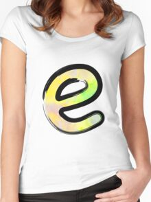 Watercolor - E - yellow Women's Fitted Scoop T-Shirt