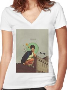 Grey Women's Fitted V-Neck T-Shirt