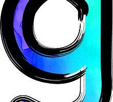 Watercolor - G - blue by hartzelldesign