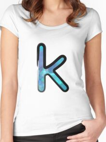 Watercolor - K - blue Women's Fitted Scoop T-Shirt