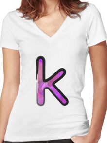 Watercolor - K - purple Women's Fitted V-Neck T-Shirt
