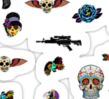 guns and roses  Sticker