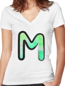 Watercolor - M - green Women's Fitted V-Neck T-Shirt