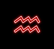 Bright Red Neon - Aquarius the Water Bearer Star Sign by podartist