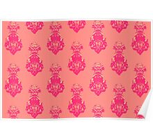 Vintage pink/salmon colored pattern Poster