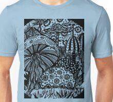 Mushroom Circle Var 1 - Black Surround - Transparent Centre - Aussie Tangle by Heather Unisex T-Shirt