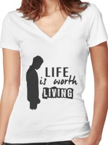 Life Is Worth A Living // Purpose Pack // Women's Fitted V-Neck T-Shirt